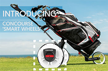 Golf bag on a trolley. The trolley's wheels have been replace with alternatives that have a motor fixed on the hub.