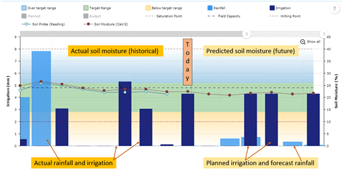 Graph showing soil moisture and rainfall, both actual and predicted.