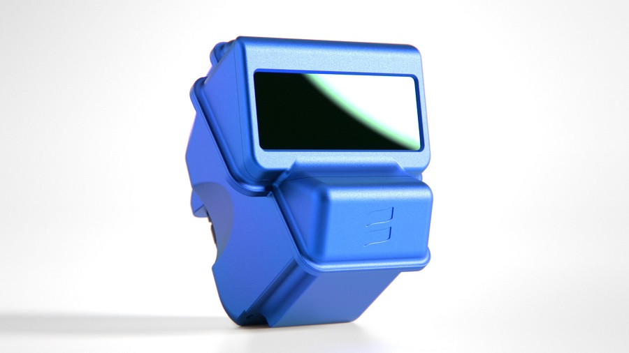 Chunky plastic handheld device with smartphone sized horizonal screen.