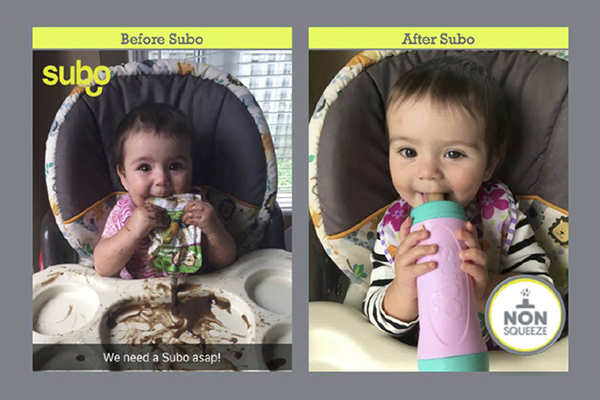 before and after photo of baby using Subo