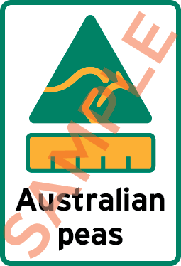 Example label showing a kangaroo symbol, bar chart and the text Australian peas.
