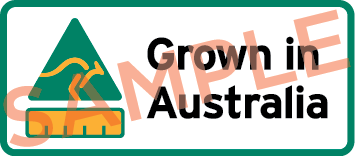 Sample label showing a kangaroo triangle symbol, barchart and the text Grown in Australia.