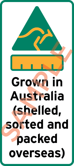 Sample label showing a kangaroo triangle symbol, bar chart and the text Grown in Australia (shelled, sorted and packed overseas)