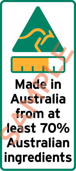 Sample label showing a kangaroo symbol, bar chart and the text Made in Australia from at least 70% Australian ingredients.