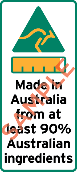 Sample label showing Kangaroo icon, bar chart and the text Made in Australia from at least 90% Australian Ingredients