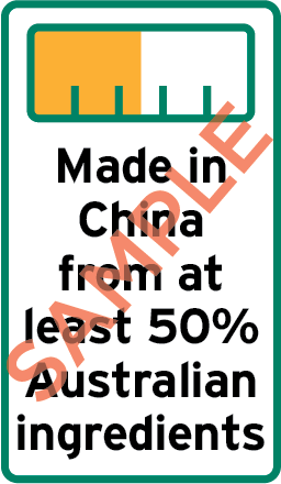Sample label showing bar chart and the text Made in China from at least 50% Australian ingredients