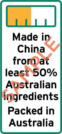 Sample label showing bar chart and the text Made in China from at least 50% Australian ingredients Packed in Australia