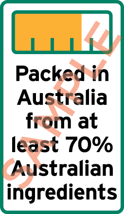 Sample label showing a bar chart and the text Packed in Australia from at least 70% Australian ingredients.