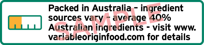 Sample label with bar chart and text Packed in Australia ingredient sources vary average 40% Australian ingredients, and web details.