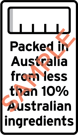 Sample label showing a monochrome bar chart and the text Packed in Australia from less than 10% Australian ingredients.