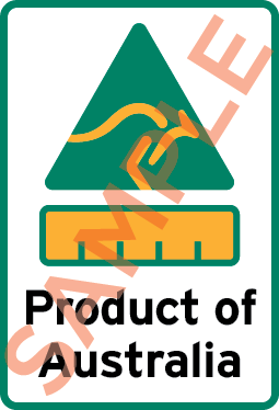 Sample label showing a kangaroo triangle symbol, barchart and the text Product of Australia.
