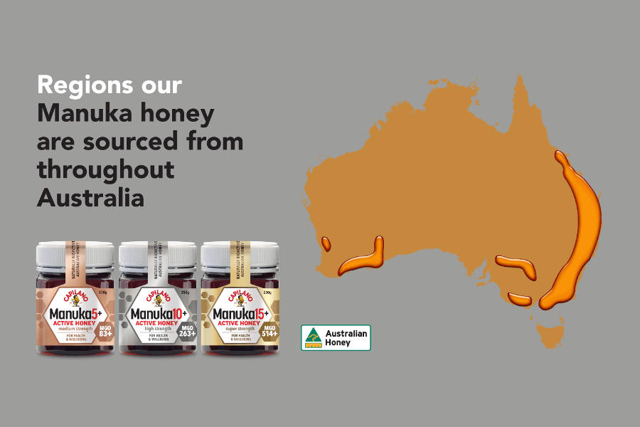 Map of Australia showing the source of Manuka honey – mostly on the east coast and south-west Western Australia.