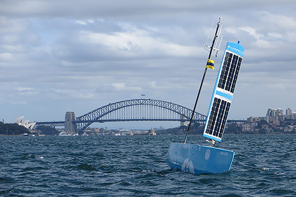 a device that is simlar to buoy with solar panels, floating in sydney harbour