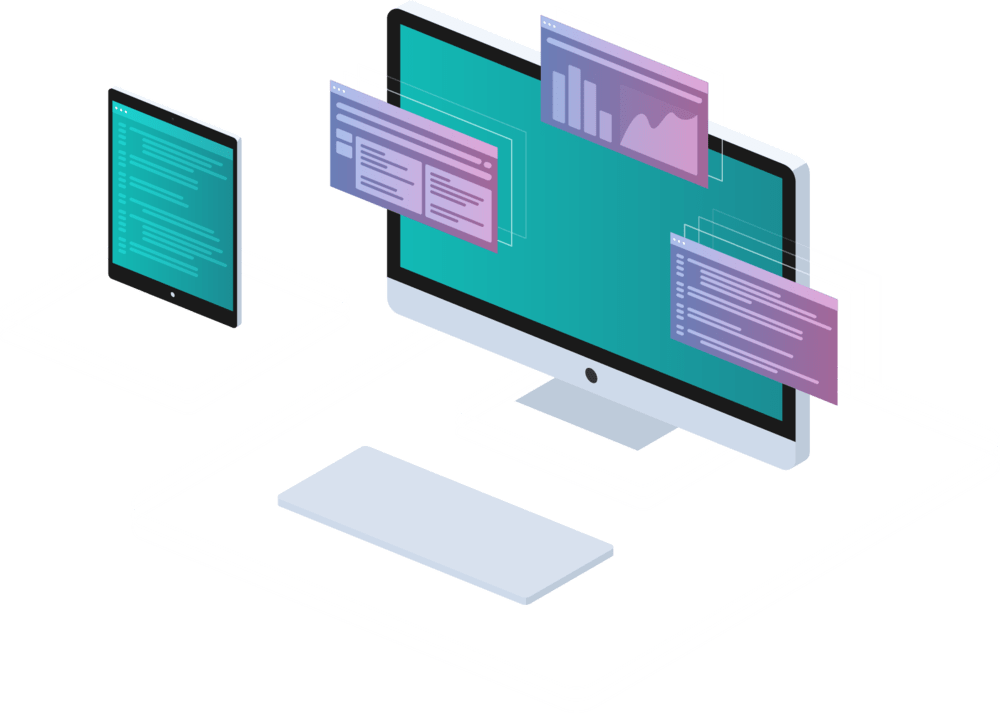 Illustration of computer screen and mobile device with apps running