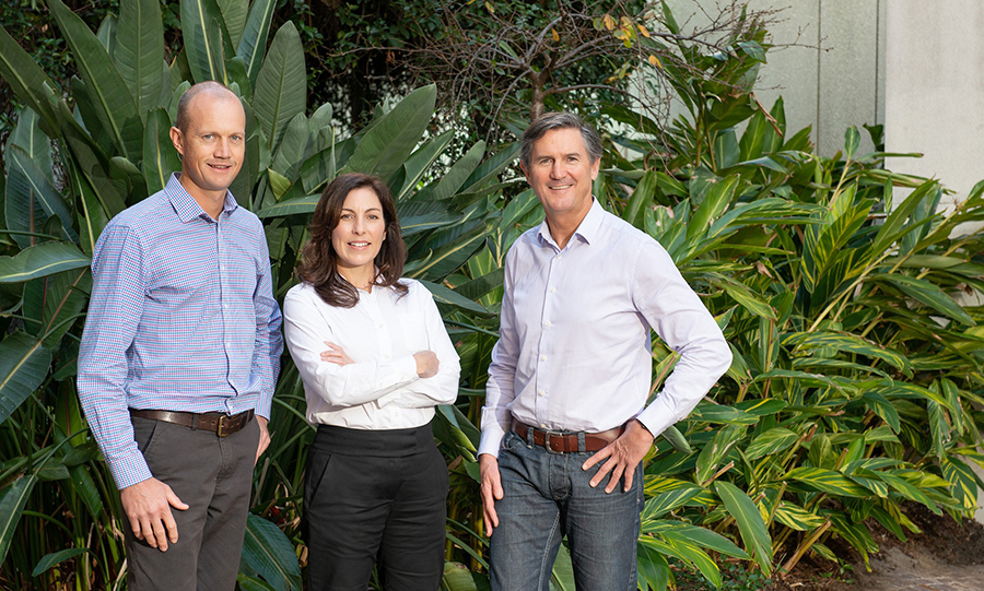 3 people standing in front of large leafy plant