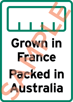 Sample label showing a bar chart and the text Grown in France Packed in Australia.