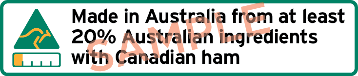 Sample label with kangaroo symbol, bar chart and text Made in Australia from at least 20% Australian ingredients with Canadian ham.