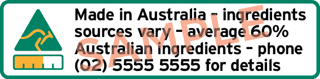 Sample label with kangaroo and bar symbol, text Made in Australian ingredients sources vary average 60% Australian ingredients and phone details
