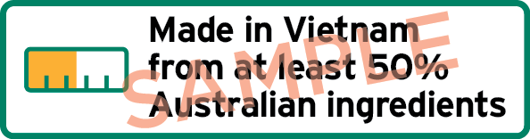 Sample label showing a bar chart and the text Made in Vietnam with at least 50% Australian ingredients.
