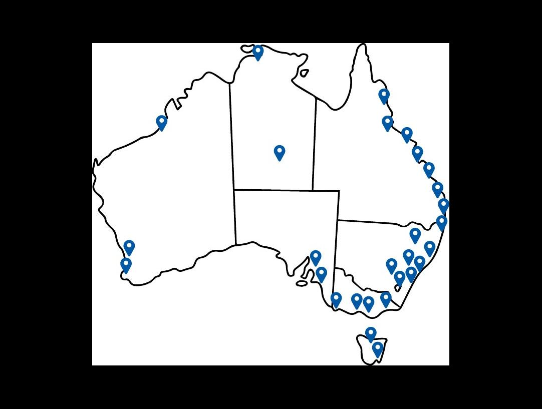 Map of Australia showing the Delivery Partner network locations